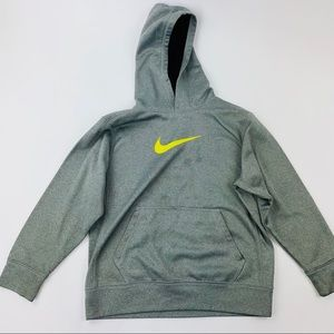 Nike Therma-Fit Boys Hooded Sweatshirt  Gray Neon